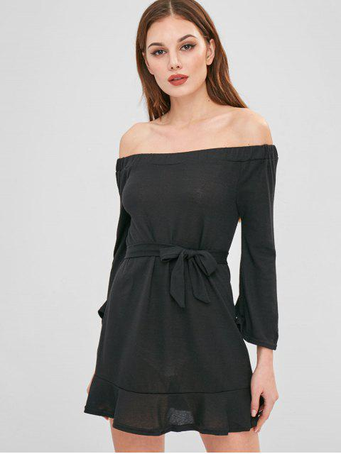 fancy Mini Off The Shoulder Sweater Dress - BLACK XL Mobile