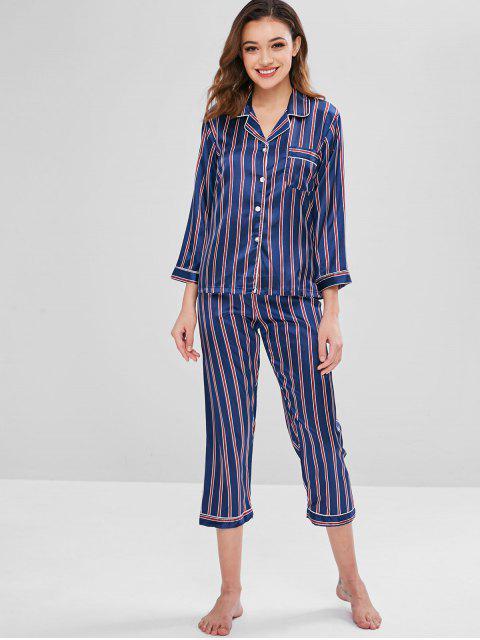 Satin Pocket gestreiften Pyjama Set - Multi M Mobile
