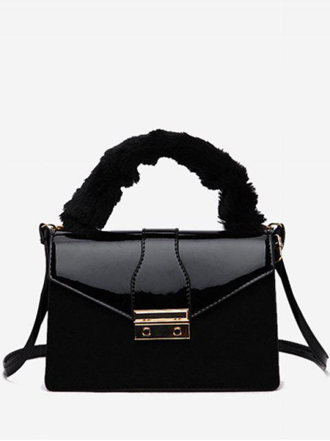 best Faux Suede Design Cover Crossbody Bag - BLACK  Mobile