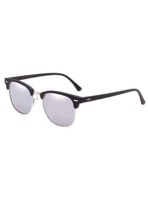 chic Metal Semi-Rimless Frame Sunglasses - SILVER  Mobile