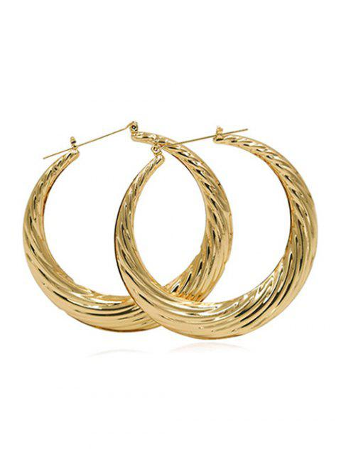 chic Statement Design Round Metal Earrings - GOLD  Mobile