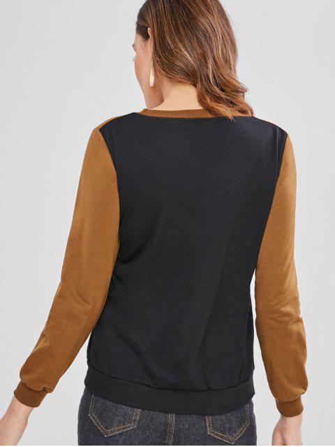 lady Chevron Paneled Tricolor Sweatshirt - MULTI M Mobile