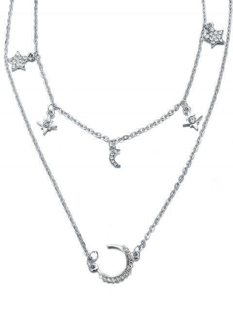 women's Layered Star and Moon Printed Pendant Necklace - SILVER  Mobile