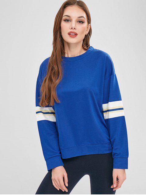 Drop Schulter gestreiften Ärmel Sweatshirt - Blau XL  Mobile