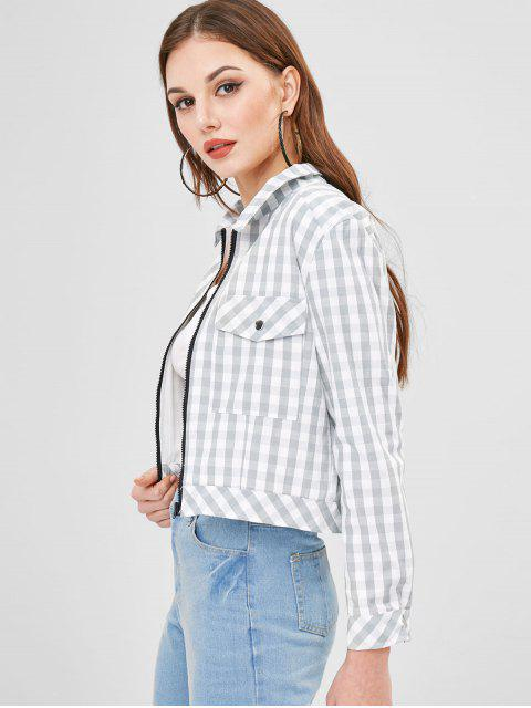 unique ZAFUL Zip Up Plaid Jacket - LIGHT GRAY XL Mobile
