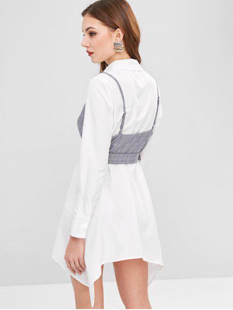 ZAFUL Robe Asymétrique CeinturéeHautà BretelleàCarreaux - Blanc L Mobile