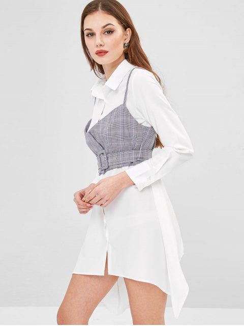 womens ZAFUL Plaid Cami Top Belted Asymmetric Dress - WHITE XL Mobile