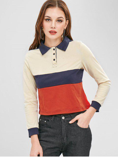 ZAFUL Color Block Langarmhemd - Multi L Mobile