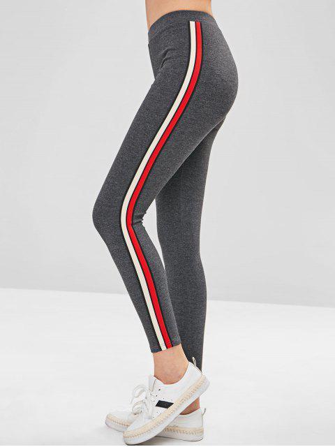 Stripe Trim Dicke Leggings - Dunkelgrau Eine Größe Mobile