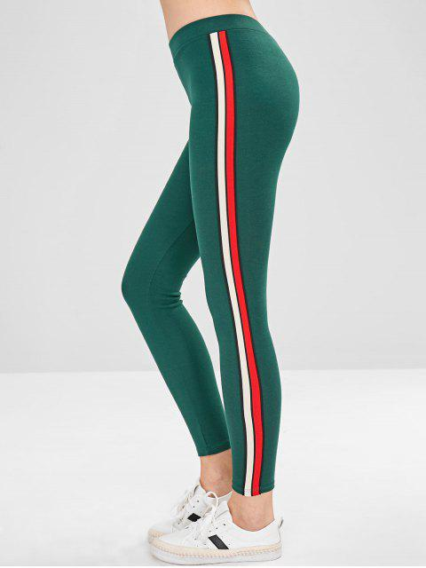 chic Stripe Trim Thick Leggings - GREEN ONE SIZE Mobile