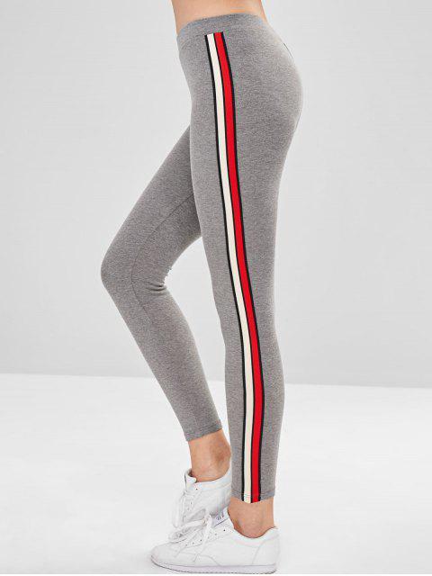 Stripe Trim Dicke Leggings - Hellgrau Eine Größe Mobile