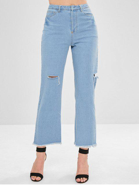 Distressed Button Fly Reversible Jeans - Helles Blau M Mobile