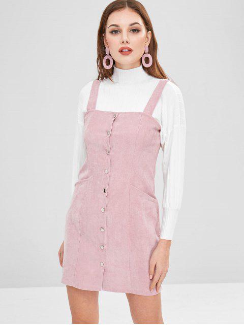 Knopf durch Kordsamt Pinafore Minikleid - Pink M Mobile