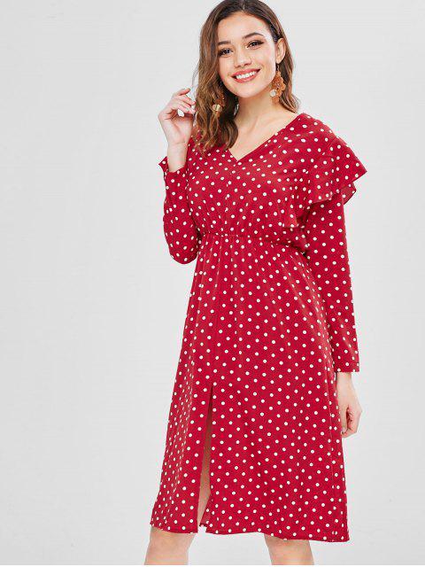 Robe Mi-Longue à Pois à Volants - Rouge L Mobile