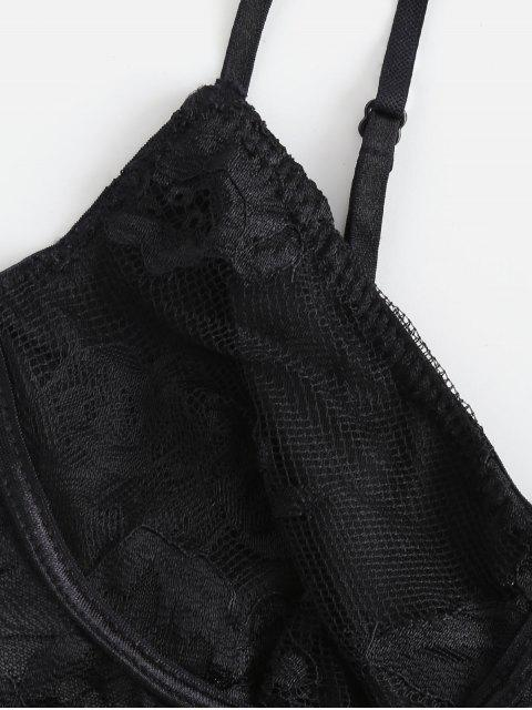 chic Cami Bralette Lace Sheer Teddy - BLACK L Mobile
