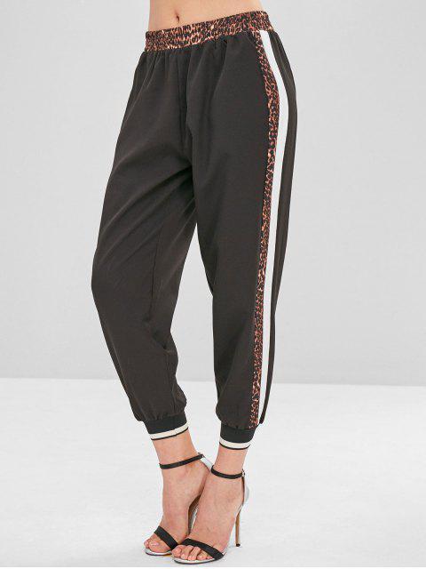 Pantalon de Jogging Léopard Rayé - Noir S Mobile