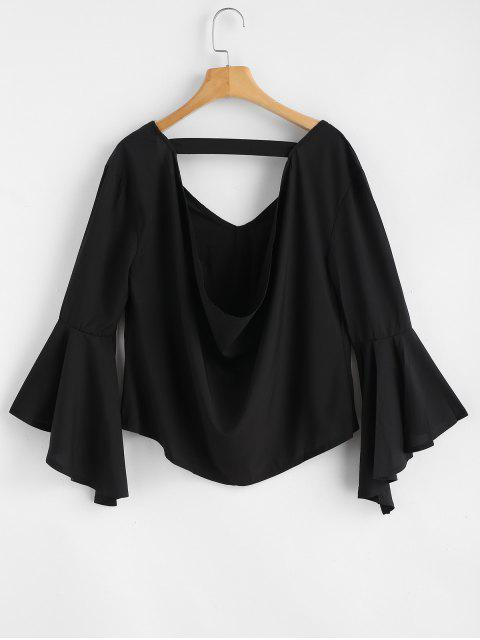 outfit Floral Applique Draped Open Back Bell Sleeve Top - BLACK L Mobile