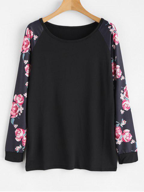 Tee-shirt à manches raglan à imprimé floral long - Noir M Mobile