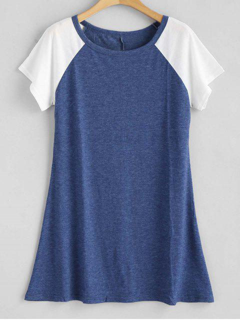 affordable Contrasting Raglan Sleeve Tunic Tee - BLUE S Mobile