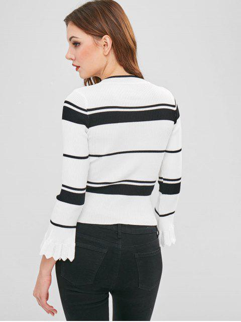 hot Striped Bell Sleeve Ribbed Sweater - MULTI ONE SIZE Mobile