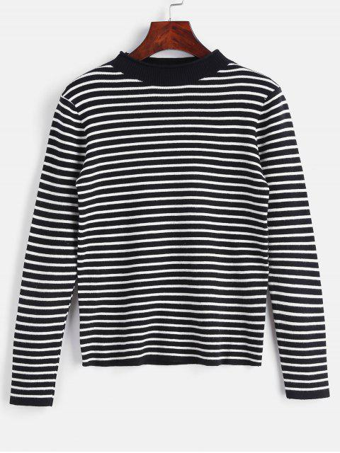 affordable Striped Slim Knit Sweater - BLACK ONE SIZE Mobile