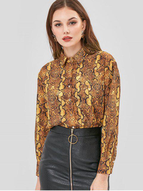chic Snake Skin Pattern Print Shirt - MULTI L Mobile