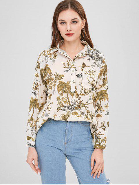online Half-button Plant Print Shirt - MULTI L Mobile