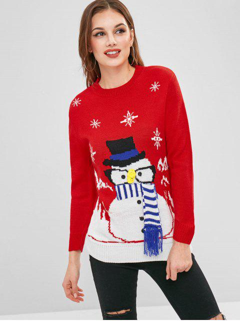 shop Christmas Snowman Button Embellished Sweater - RED ONE SIZE Mobile