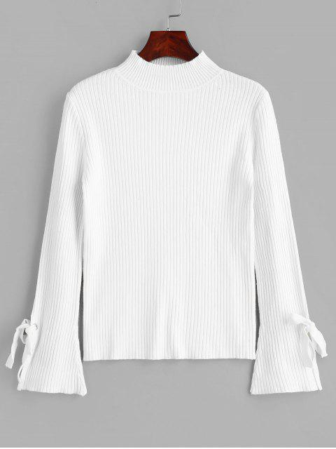 fashion Mock Neck Ribbed Tie Flare Sleeves Knitwear - WHITE ONE SIZE Mobile
