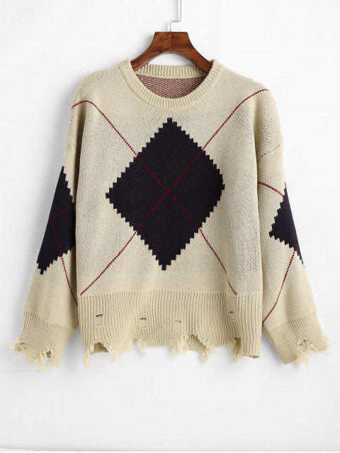 unique Distressed Argyle Oversized Jacquard Knit Sweater - CAMEL BROWN ONE SIZE Mobile