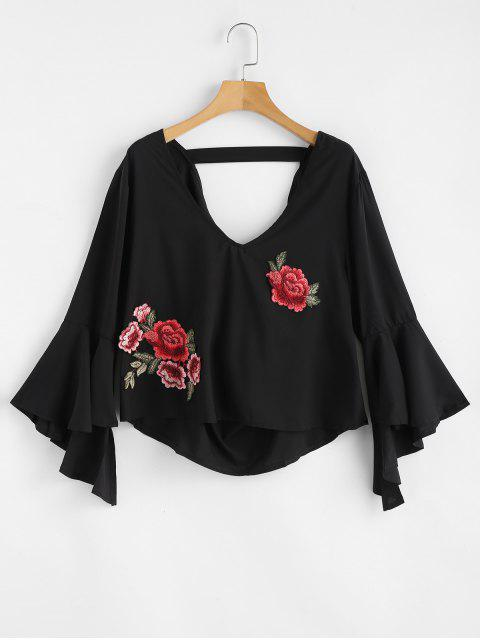lady Floral Applique Draped Open Back Bell Sleeve Top - BLACK XL Mobile