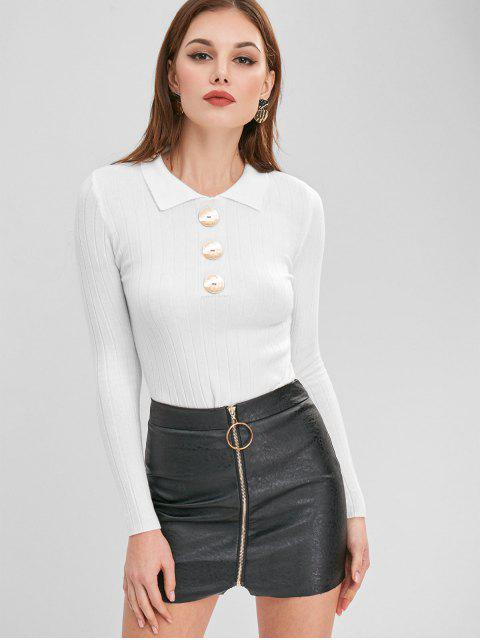 best Button Embellished Turn Down Collar Sweater - WHITE ONE SIZE Mobile