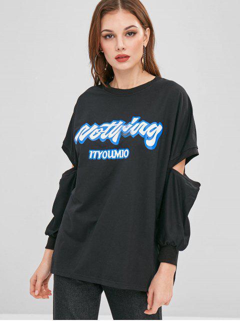 latest Open Sleeve Graphic Oversized Sweatshirt - BLACK ONE SIZE Mobile