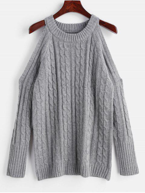 women's Cable Knit Sweater with Cold Shoulder - GRAY L Mobile
