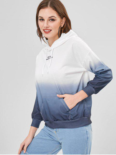 ladies Ombre Color Front Pouch Pocket Hoodie - WHITE 2XL Mobile