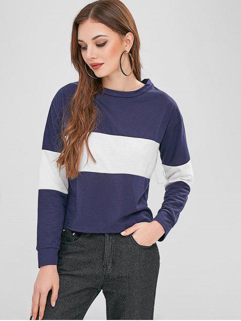chic Two Tone Color Block Sweatshirt - MIDNIGHT BLUE L Mobile