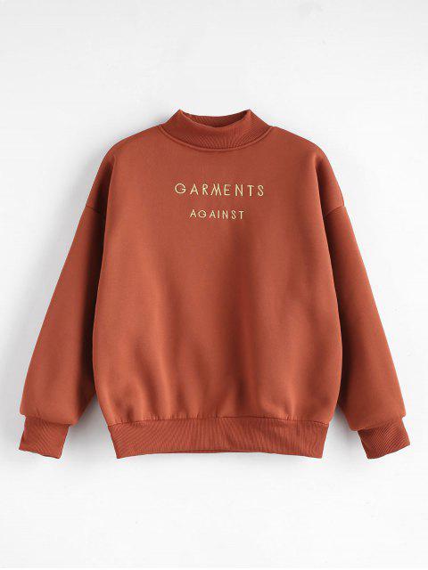 ladies Mock Neck Embroidered Sweatshirt - CHESTNUT M Mobile