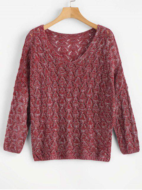 womens V Neck Loose Hollow Out Sweater - RED WINE ONE SIZE Mobile