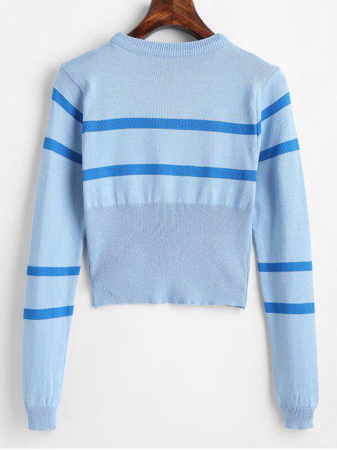 ストライプ ラウンドネック ショート セーター - ライトブルー ワンサイズ Mobile
