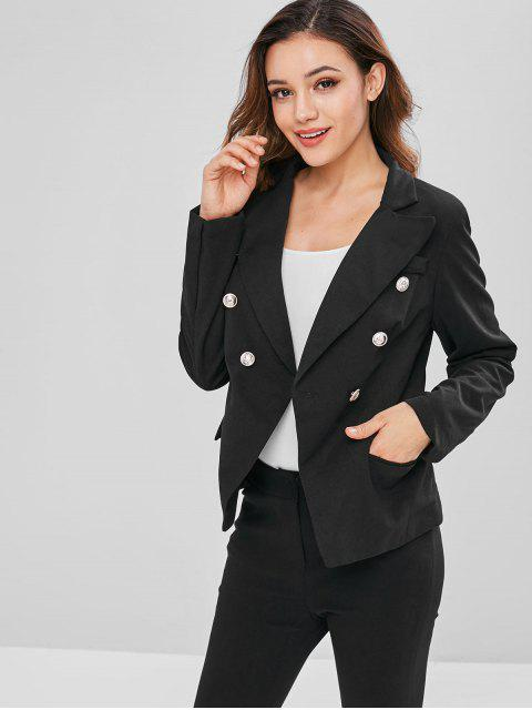 buy Padded Shoulder Flap Pockets Blazer - BLACK M Mobile