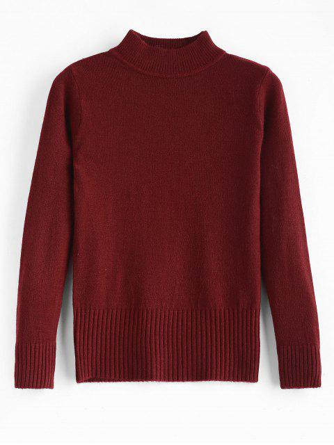 shops Basic Slim Fit Sweater - RED WINE ONE SIZE Mobile