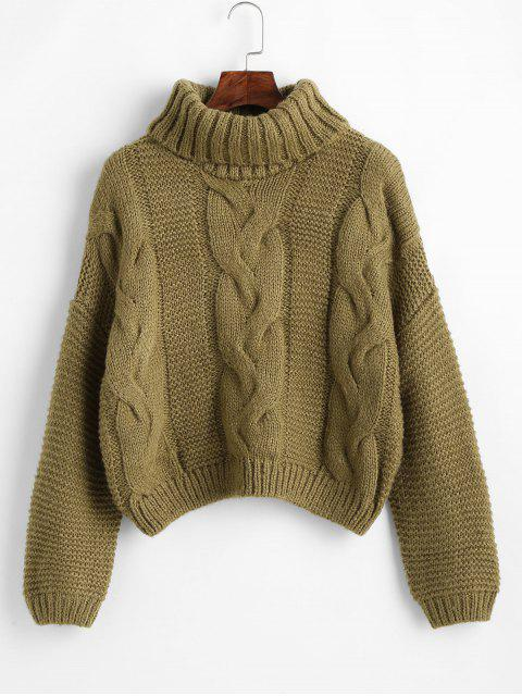 shops Drop Shoulder Cable Knit Turtleneck Chunky Sweater - OAK BROWN ONE SIZE Mobile
