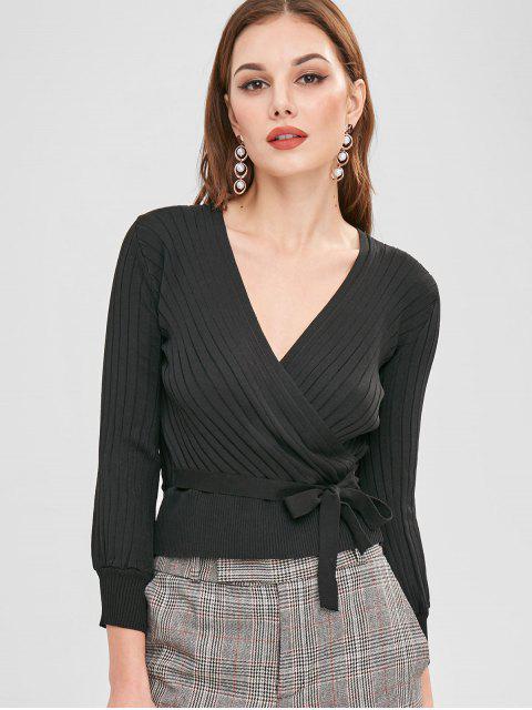 Gerippter Crossover Pullover - Schwarz Eine Größe Mobile