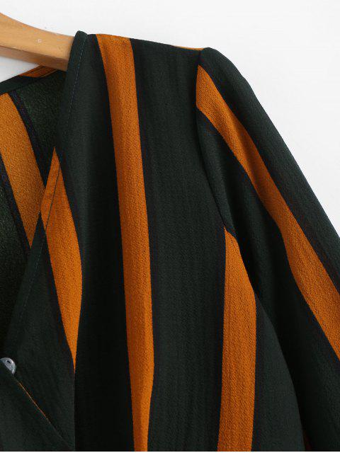 best Striped Crop Surplice Blouse - MULTI S Mobile