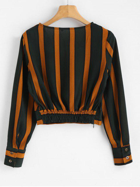 trendy Striped Crop Surplice Blouse - MULTI L Mobile