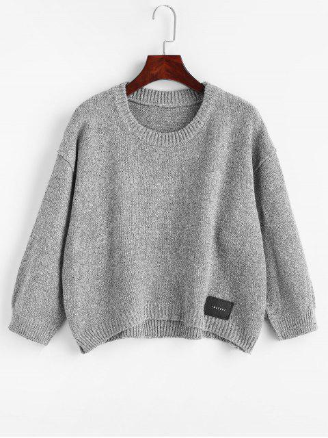 shops High Low Patch Design Sweater - GRAY ONE SIZE Mobile
