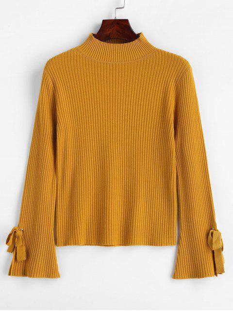 online Mock Neck Ribbed Tie Flare Sleeves Knitwear - MUSTARD ONE SIZE Mobile