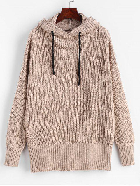 women's Drop Shoulder Chunky Hooded Sweater - CAMEL BROWN ONE SIZE Mobile