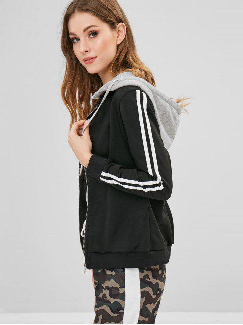 latest ZAFUL Detachable Hood Contrast Stripes Hoodie - BLACK L Mobile
