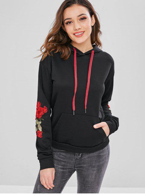 fashion ZAFUL Front Pocket Embroidered Patched Hoodie - BLACK L Mobile